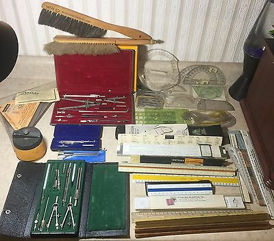 Vintage Used Estate Lot Dietzgen Weber Drafting Materials Stencils Brushes Tools