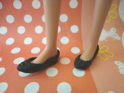 Doll shoes ~ Mattel Barbie Black Small Flat feet shoes 1pair #S2015 NEW