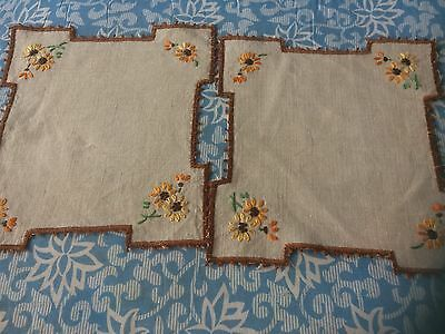 Vintage Hand Embroidered Doilies Mats X 2