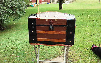 BlackDog Antique Steamer Trunk Dome Top Victorian Chest Stagecoach c:1800