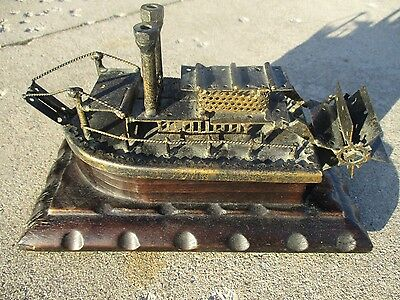"Vintage 1970's Hand Crafted Wood Metal Folk / Tramp Art Paddleboat  10"" x 5"""