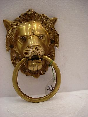 LARGE - ANTIQUE Style Brass DOOR KNOCKER - LION Style - Fully Brass - RARE