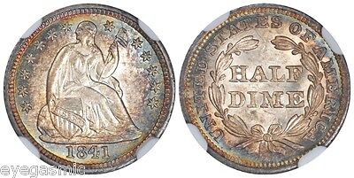 1841 H10C Liberty Seated Half Dime NGC MS65 Lovely Rainbow Toned Eye Candy