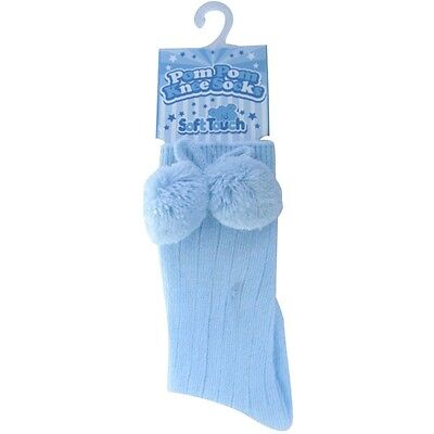 Baby Knee High Pompom Socks Colours Available  White / Blue / Navy Blue/ Red