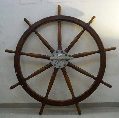 5 FEET EXTRA LARGE - Real ANTIQUE ship's STEERING - HELM - Wooden - ORIGINAL