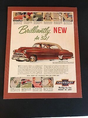 Vintage Chevrolet Bel Air Brilliantly New for '52! advertising Ads 1952 with Mat