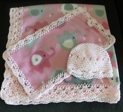 Crochet Trim Baby Blanket - Pink Elephant Print with burp cloth and cap