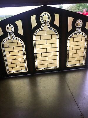 "An 77 4 Available Price Separate Antique Stainglass Gothic Window 48"" X 70 Wide"