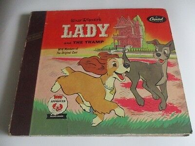 1954 WALT DISNEY'S Lady & The Tramp Book & 2 LP Set Bozo Approved Record Reader