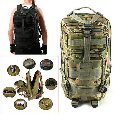 30L Unisex Military Tactical Backpack Rucksack Camping Hiking Molle Travel Bag