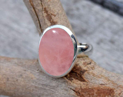 925 Sterling Silver Rose Quartz Stone Gemstone Ring Size  5 6 7 8 9 10