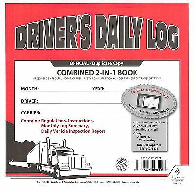 5 PACK 2-In-1 JJ KELLER Driver's Daily Log Book 8541 W/CARBON W/Simplified DVIR
