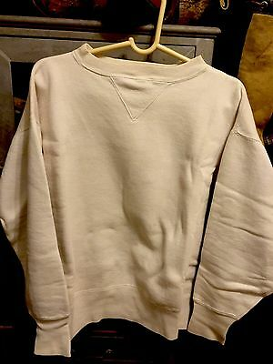 "1930S-1940S Double""v""off White Blank Sweat!all Cotton!exc.cond.near Mint!sz.l"