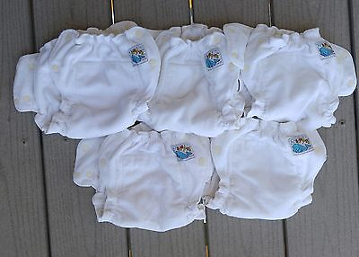 Lot of 5 Mother-ease Sandy's Small Cotton Cloth Diapers Infant Fitted