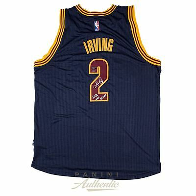"Kyrie Irving Autographed Navy Swingman Jersey with ""15-16 NBA Champ"" Inscription"