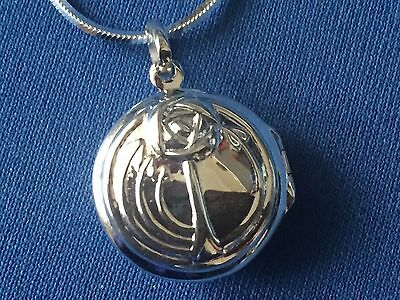 Charles Rennie Macintosh Style Locket Sterling  Silver And Sterling Snake Chain