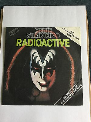 """Kiss Gene Simmons Radioactive 7"""" Red Vinyl CAN134 Includes Free Mask"""