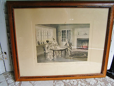 Antique Hand Signed Bessie Pease Gutmann Print An Afternoon Tea Framed Print