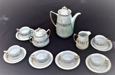 Tea Set for 6, Mother of Pearl w Pure Gold Trim, Made in Bavaria, Germany, 1950