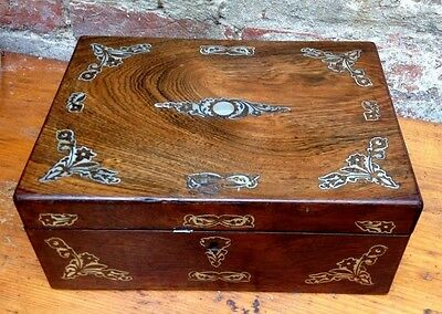 Antique, (Victorian) Pearl Inlaid Rosewood Boxed Writing Slope