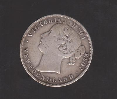 1885 NEWFOUNDLAND SILVER 20 CENT Low Mintage Coin  40,000 ONLY FINE TO VF DETAIL