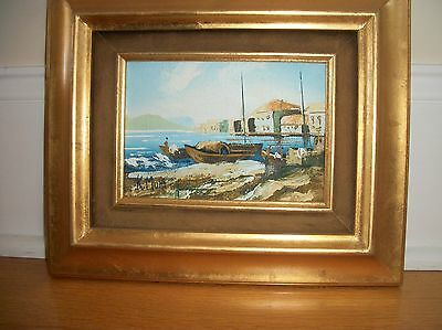 original oil on canvasboard  PAINTING  Seascape people  signed framed