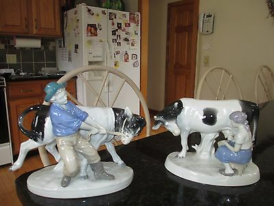 2 Vintage Carl Scheidig Porcelain Figurines Man Pulling Cow & Woman Milking Cow