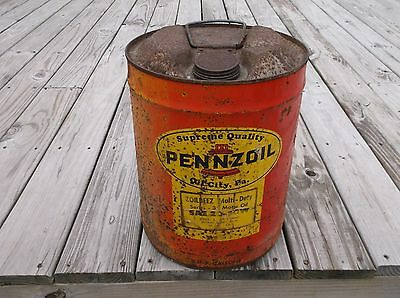 Vintage Pennzoil 5 Gallons Oil Can Red Yellow Advertising Petroliana Gas Station
