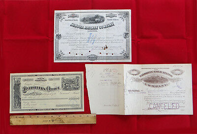 Antique Frontier Railroad & Gold Mining Stock Certificates & Cancelled Check