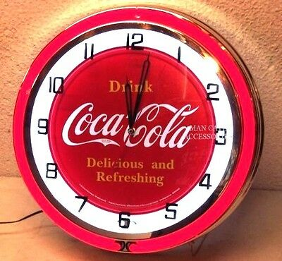 "18"" Drink Coca-Cola Delicious and Refreshing Coke Sign Double Neon Clock"