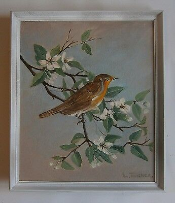 "An Oil  Painting Of  ""robin Red Breast"" -  Signed"
