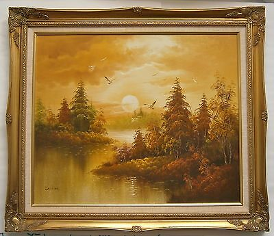 "A Large Original Landscape Oil Painting Of ""a River Scene"" - Signed"