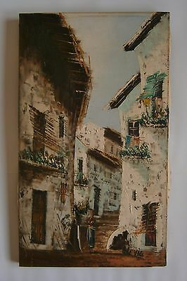 "An Original Oil Painting ""narrow Street In Mediterranean Village"" - Signed"