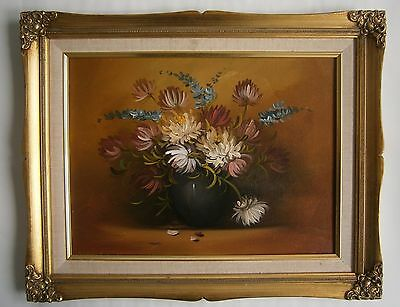 "An Original Still Life Oil  Painting Of  ""a Vase Of Flowers"" -  Unsigned"