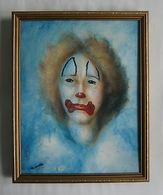 "An Oil  Painting Of  ""a Clown"" -  Signed"