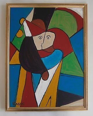 "An Original Modernist Oil Painting ""kiss"" - Signed"