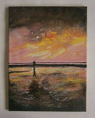 "An Modernist Oil Painting ""man On Beach"" - Signed"