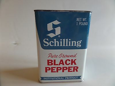 Vintage  Schilling Pure Ground Black Pepper in 1lb Tin