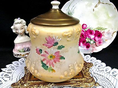 Victorian  Biscuit Jar Cookie Holder  Glass Painted Floral Biscuit Barrel