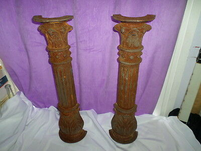 Architectural Salvage Ornate Victorian Cast Iron 1/2 Columns Fireplace Porch ?