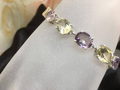 Natural Amethyst & Citrine 925 Sterling Silver Gemstone bracelet  Gift Box