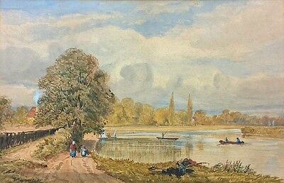 William Manners Indistinctly Signed Original 19th Century Painting Landscape