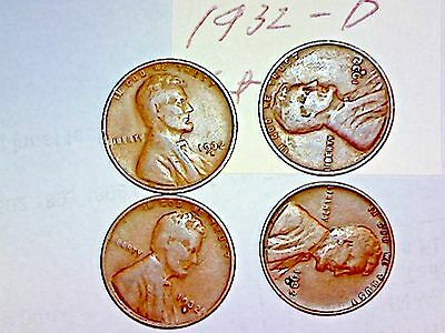 1932-D Lincoln Cent Lot Of 4