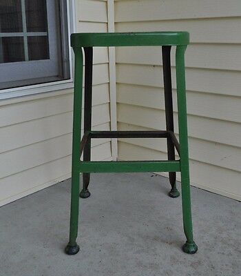 "Vintage  26"" Green Metal LYON LABORATORY INDUSTRIAL FACTORY STOOL GREEN PAINT"