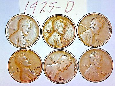 1925-D Lincoln Wheat Cent Lot Of 6