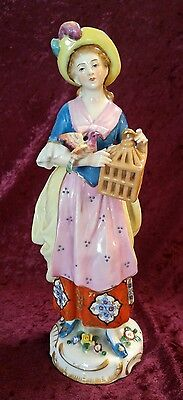 """9"""" Chelsea Signed Gold Anchor Porcelain Woman Lady Bird Cage Figurine Statue"""