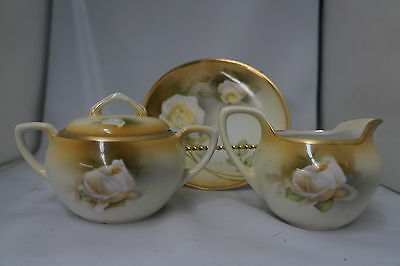 Antique R.S. Prussia White Rose Lidded Sugar Bowl Creamer and Plate