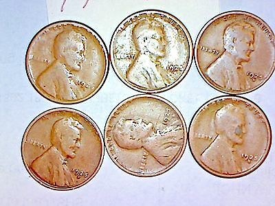 1925-D ,1925-S Lincoln Wheat Cent Lot Of 6