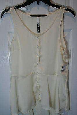 NWT Kensie Womens Size L Sleeveless Blouse Top Button Front Ivory Casual Career