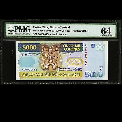 Costa Rica 5000 Colones 1991 Series A Low Serial 156 PMG 64 Choice UNC P-260a